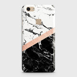 3D Black & White Marble With Chic RoseGold Strip Case For Vivo V7