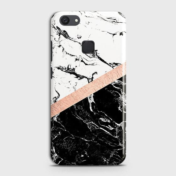 3D Black & White Marble With Chic RoseGold Strip Case For Vivo V7 Plus