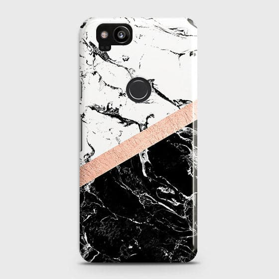 3D Black & White Marble With Chic RoseGold Strip Case For Google Pixel 2