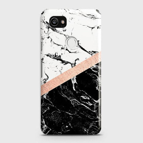 Google Pixel 2 XL Cover - Black & White Marble With Chic RoseGold Strip Case with Life Time Colors Guarantee