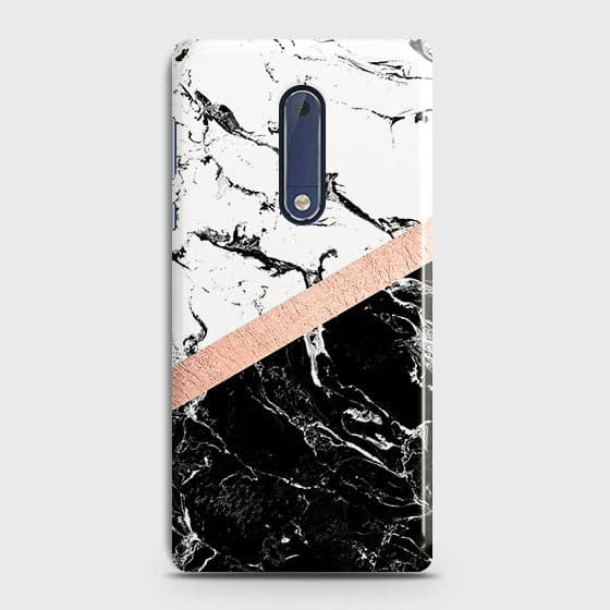 Nokia 5 Cover - Black & White Marble With Chic RoseGold Strip Case with Life Time Colors Guarantee