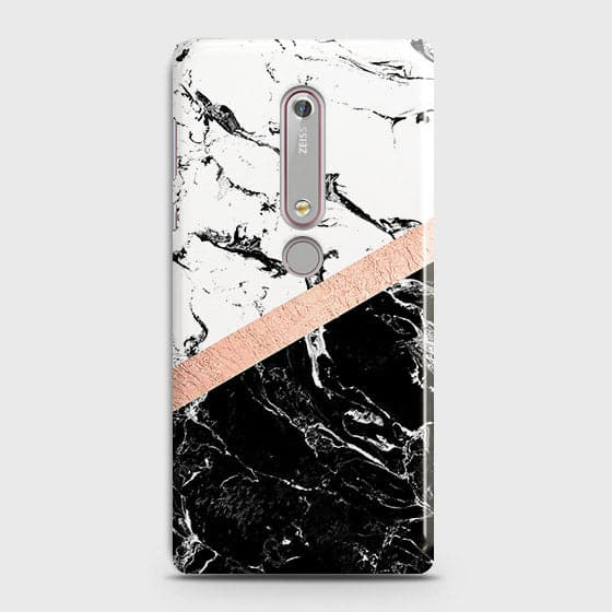 3D Black & White Marble With Chic RoseGold Strip Case For Nokia 6.1