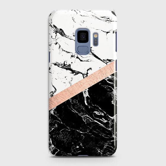 Samsung Galaxy S9 Cover - Black & White Marble With Chic RoseGold Strip Case with Life Time Colors Guarantee
