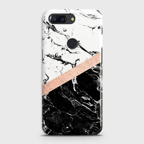 3D Black & White Marble With Chic RoseGold Strip Case For OnePlus 5T