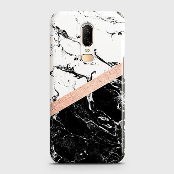 Printed Black & White Marble With Chic RoseGold Strip Case with Life Time Color Guarantee For OnePlus 6