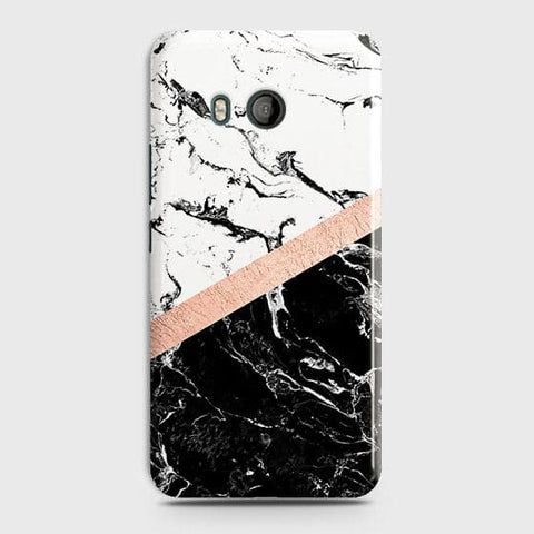 HTC U11m Cover - Black & White Marble With Chic RoseGold Strip Case with Life Time Colors Guarantee