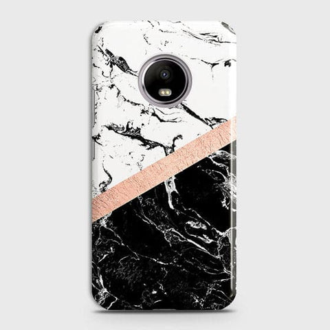 Motorola E4 Plus Cover - Black & White Marble With Chic RoseGold Strip Case with Life Time Colors Guarantee