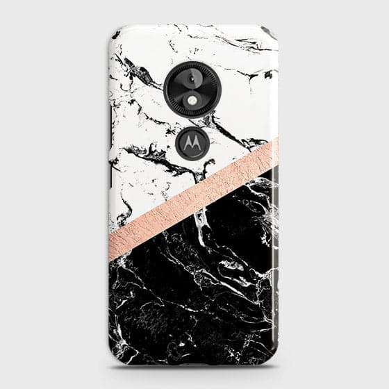 3D Black & White Marble With Chic RoseGold Strip Case For Motorola E5