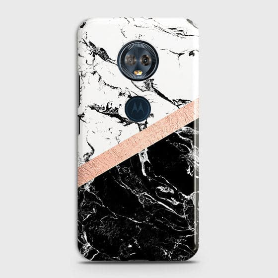 3D Black & White Marble With Chic RoseGold Strip Case For Motorola E5 Plus