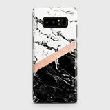 3D Black & White Marble With Chic RoseGold Strip Case For Samsung Galaxy Note 8
