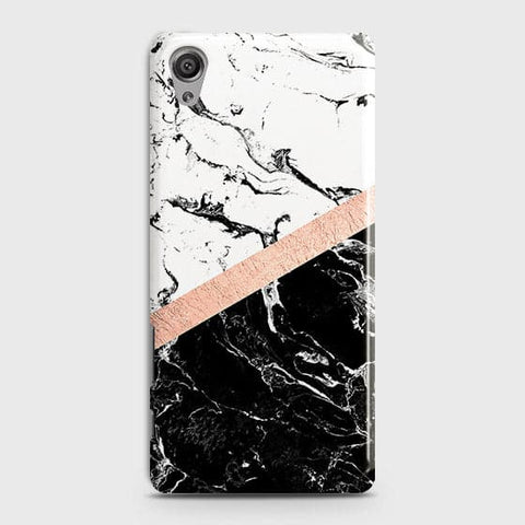 3D Black & White Marble With Chic RoseGold Strip Case For Sony Xperia XA
