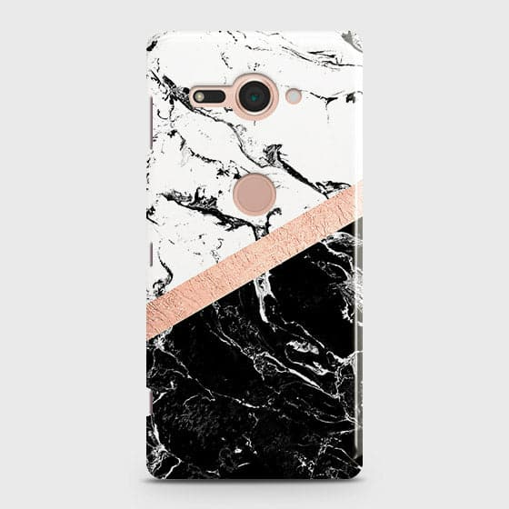 Sony Xperia XZ2 Compact Cover - Black & White Marble With Chic RoseGold Strip Case with Life Time Colors Guarantee