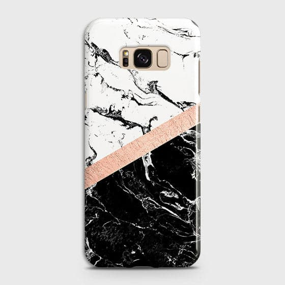 3D Black & White Marble With Chic RoseGold Strip Case For Samsung Galaxy S8