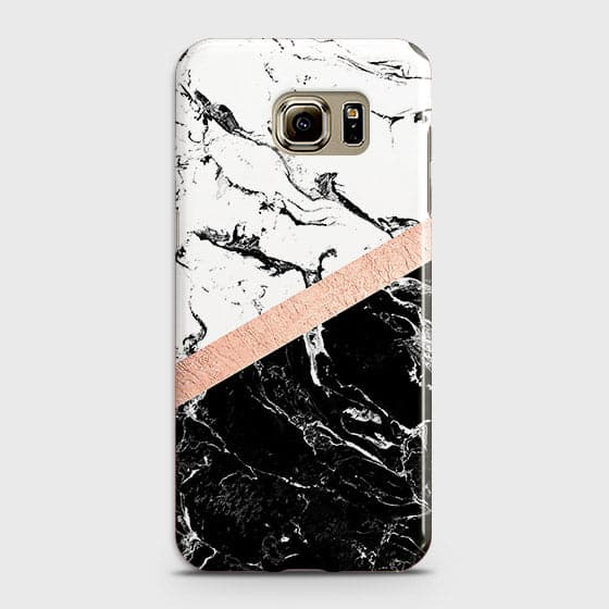 Samsung Galaxy S6 Edge Plus Cover - Black & White Marble With Chic RoseGold Strip Case with Life Time Colors Guarantee