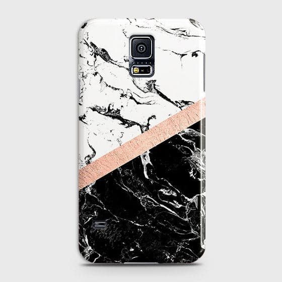 3D Black & White Marble With Chic RoseGold Strip Case For Samsung Galaxy S5