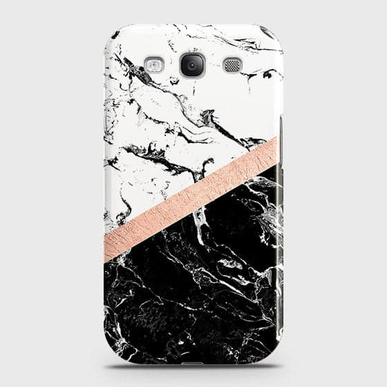 3D Black & White Marble With Chic RoseGold Strip Case For Samsung Galaxy S3