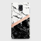 3D Black & White Marble With Chic RoseGold Strip Case For Samsung Galaxy Note 4