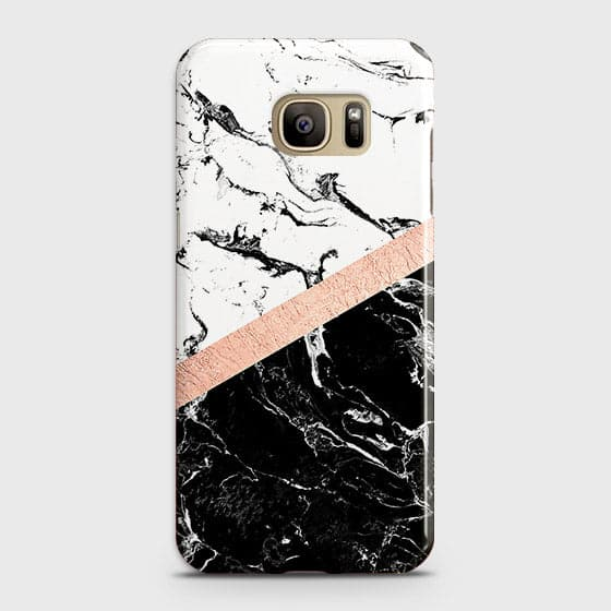 Samsung Galaxy Note 7 Cover - Black & White Marble With Chic RoseGold Strip Case with Life Time Colors Guarantee