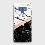 3D Black & White Marble With Chic RoseGold Strip Case For Samsung Galaxy Note 9
