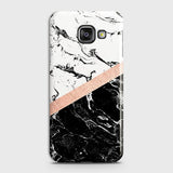 Samsung Galaxy A710 (A7 2016) Cover - Black & White Marble With Chic RoseGold Strip Case with Life Time Colors Guarantee