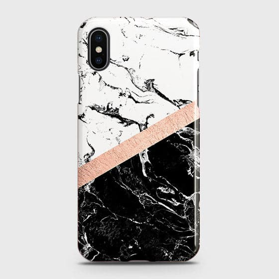 iPhone XS Cover - Black & White Marble With Chic RoseGold Strip Case with Life Time Colors Guarantee