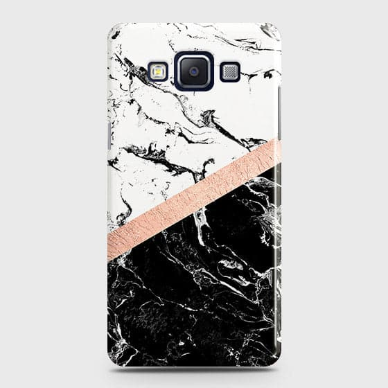 Samsung A7 Cover - Black & White Marble With Chic RoseGold Strip Case with Life Time Colors Guarantee