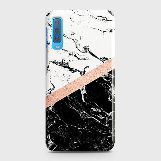 Samsung A7 2018 Cover - Black & White Marble With Chic RoseGold Strip Case with Life Time Colors Guarantee