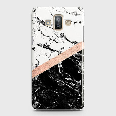 Printed Black & White Marble With Chic RoseGold Strip Case with Life Time Colors Guarantee For Samsung Galaxy J7 Duo