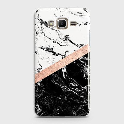 Samsung Galaxy J320 / J3 2016 Cover - Black & White Marble With Chic RoseGold Strip Case with Life Time Colors Guarantee