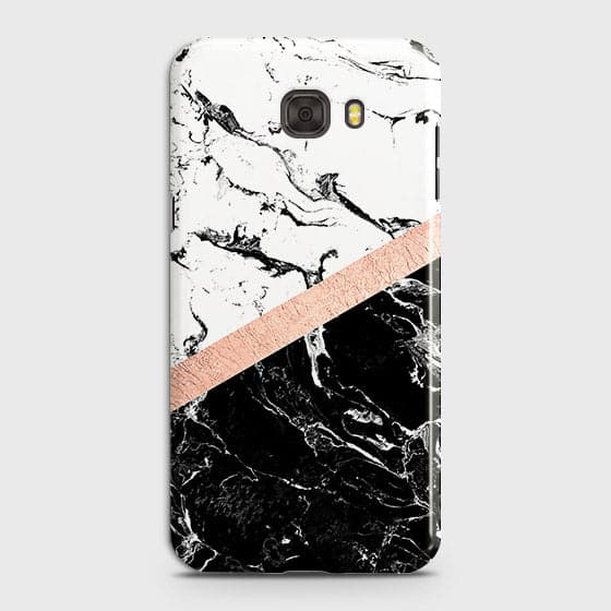 Samsung C7 Pro Cover - Black & White Marble With Chic RoseGold Strip Case with Life Time Colors Guarantee