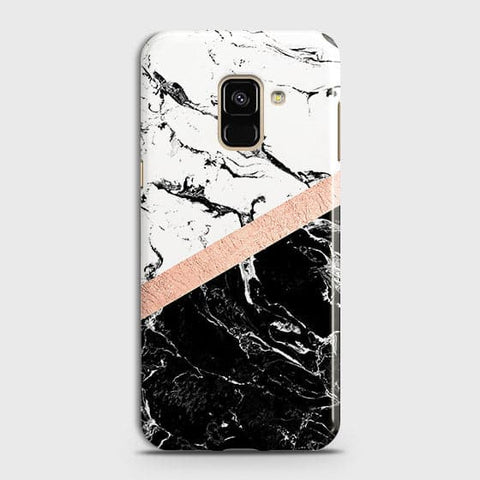 3D Black & White Marble With Chic RoseGold Strip Case For Samsung A8 2018