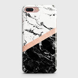 3D Black & White Marble With Chic RoseGold Strip Case For iPhone 7 Plus & iPhone 8 Plus