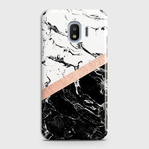 Samsung Galaxy J4 Cover - Black & White Marble With Chic RoseGold Strip Case with Life Time Colors Guarantee