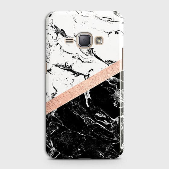 Samsung Galaxy J1 2016 / J120 Cover - Black & White Marble With Chic RoseGold Strip Case with Life Time Colors Guarantee