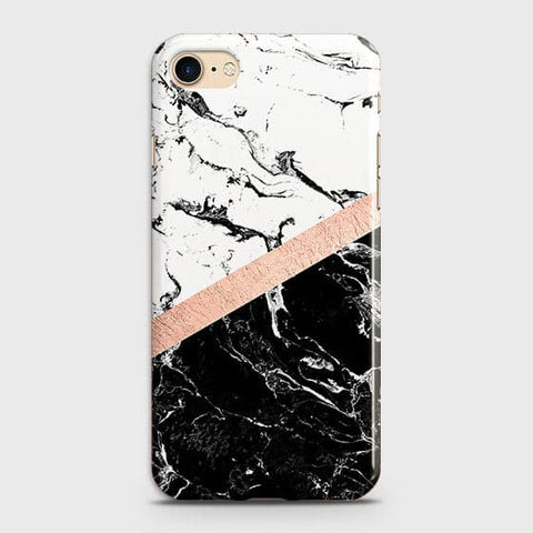 3D Black & White Marble With Chic RoseGold Strip Case For iPhone 7 & iPhone 8