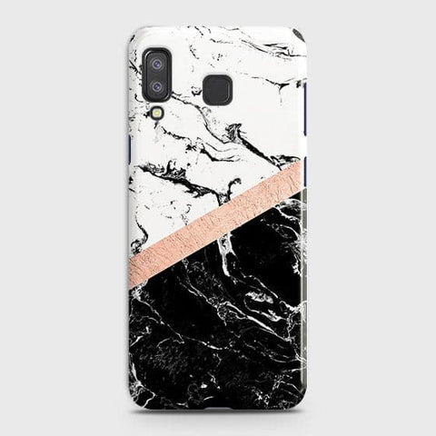 3D Black & White Marble With Chic RoseGold Strip Case For Samsung A8 Star