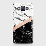 Samsung Galaxy E5 Cover - Black & White Marble With Chic RoseGold Strip Case with Life Time Colors Guarantee