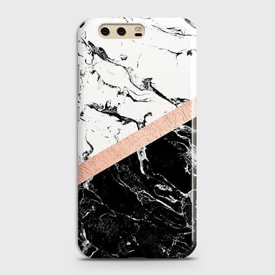 3D Black & White Marble With Chic RoseGold Strip Case For Huawei P10