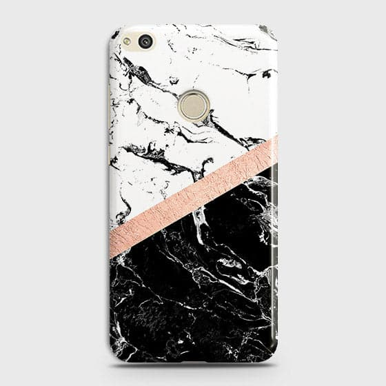 3D Black & White Marble With Chic RoseGold Strip Case For Huawei Honor 8 Lite