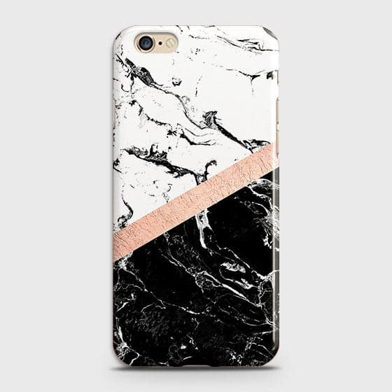 iPhone 6 Plus & iPhone 6S Plus Cover - Black & White Marble With Chic RoseGold Strip Case with Life Time Colors Guarantee