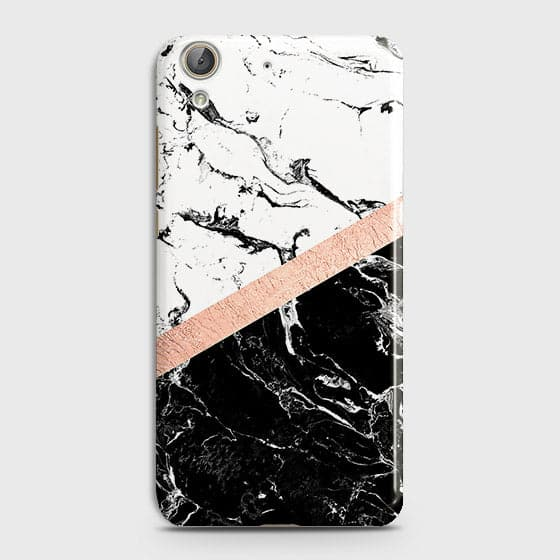 3D Black & White Marble With Chic RoseGold Strip Case For Huawei Y6 II