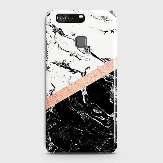 3D Black & White Marble With Chic RoseGold Strip Case For Huawei P9