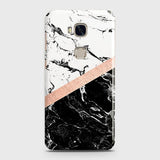 3D Black & White Marble With Chic RoseGold Strip Case For Huawei Honor 5X