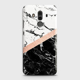 3D Black & White Marble With Chic RoseGold Strip Case For Huawei Mate 10 Pro