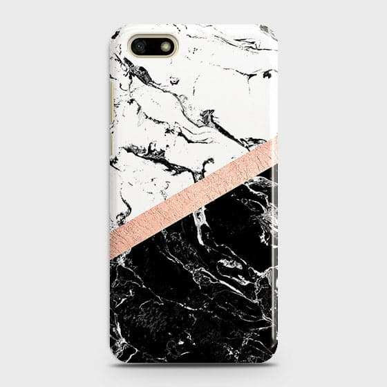 Huawei Y5 Prime 2018 Cover - Black & White Marble With Chic RoseGold Strip Case with Life Time Colors Guarantee