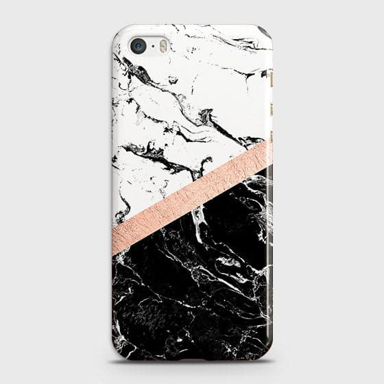 3D Black & White Marble With Chic RoseGold Strip Case For iPhone 5C