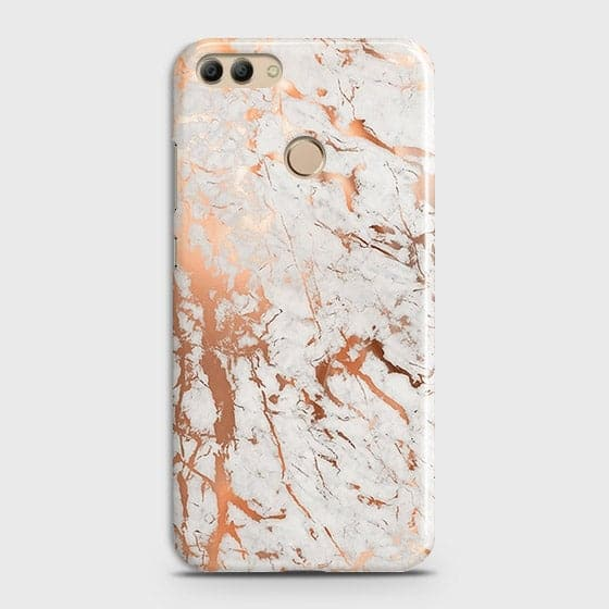 Huawei Y9 2018 Cover - In Chic Rose Gold Chrome Style Printed Hard Case with Life Time Colors Guarantee