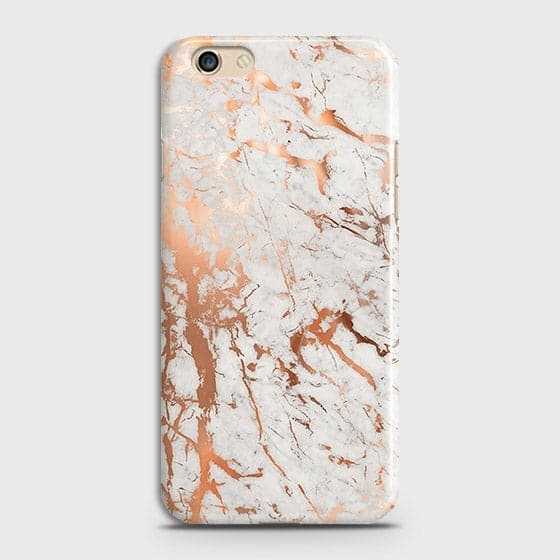 Oppo F3 Cover - In Chic Rose Gold Chrome Style Printed Hard Case with Life Time Colors Guarantee