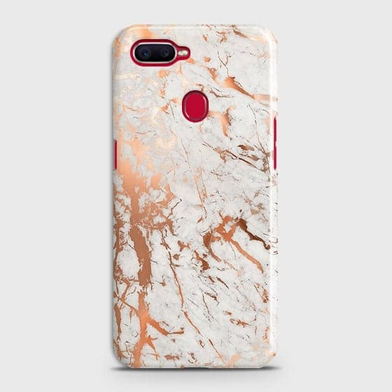 Oppo F9 Cover - In Chic Rose Gold Chrome Style Printed Hard Case with Life Time Colors Guarantee