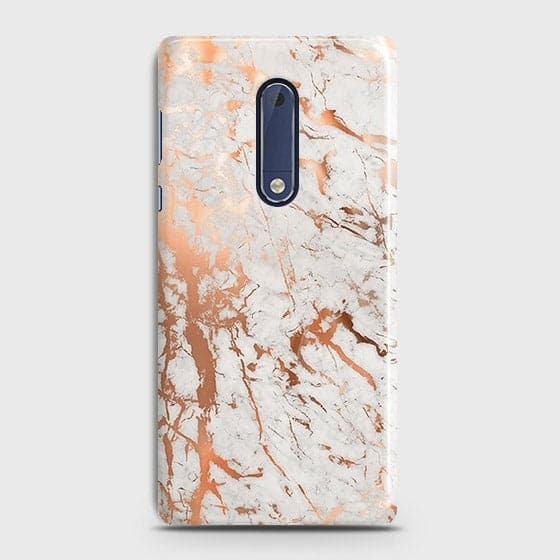 Nokia 5 Cover - In Chic Rose Gold Chrome Style Printed Hard Case with Life Time Colors Guarantee